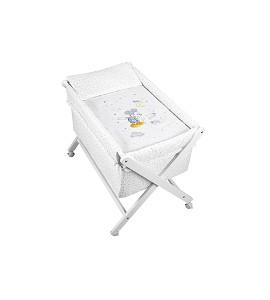 Crib In X In White Beech + Bedding + Garment + Mattress - Mod. Mickey - Blue