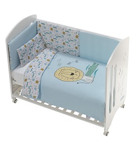 Cot New Star Premium + Set Cot Bed 60X120 (Duvet Cover+Bumper+Pillow) - Cotton - Mod. Indara - Blue