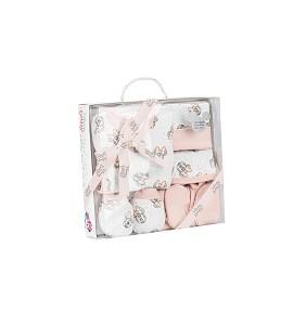Set 5 Pcs.(Shirt+Pants+Gloves+Bib+Socks) For New Born (0-6 Months) - Cotton - Mod. Disney-Pink