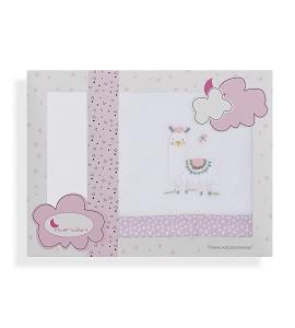 3 Pcs Bedding For Pram(Sheet106X72+Fitted S.80X40X7+Case38X25) Flecce - Mod. Llama-W/Pink